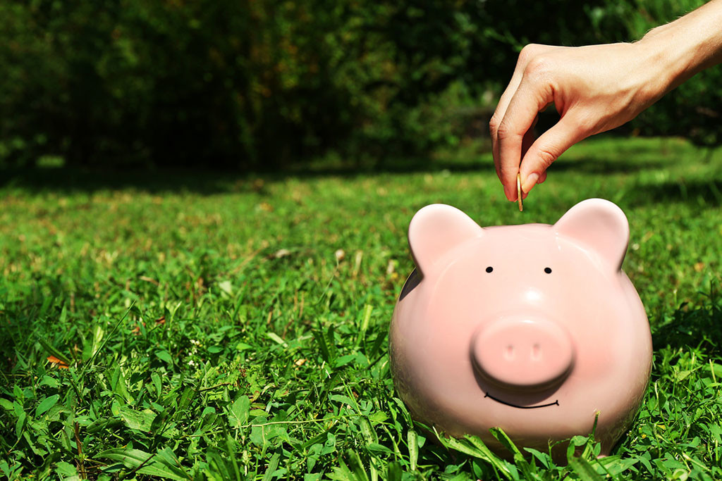 placing coin in piggy bank photo