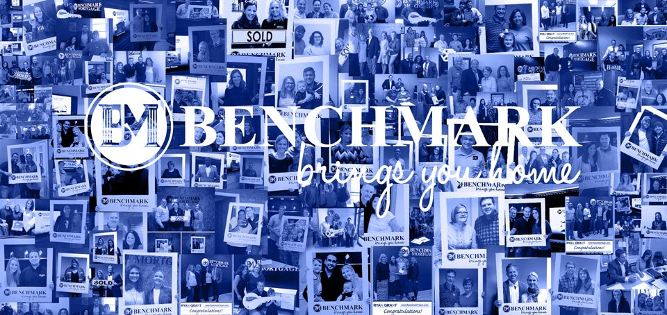 "collage of happy benchmark clients and text reading ""Benchmark brings you home"""